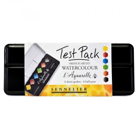 FRENCH ARTIST WATERCOLOUR TEST PACK - 6 HALF PANS