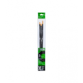 CAMPUS ACRYLIC AND OIL SYNTHETIC BRUSH SET X3 - FLAT - FILBERT - ROUND - 30CMS