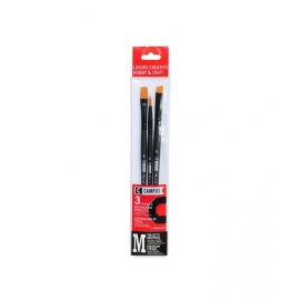 CAMPUS HOBBY AND CRAFT  SYNTHETIC BRUSH SET X 3 - FLAT - ROUND - ANGULAR