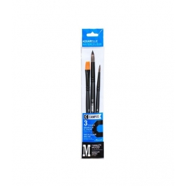 CAMPUS WATERCOLOUR SYNTHETIC BRUSH SET X 3 - FLAT - ROUND - ROUND - 30CM