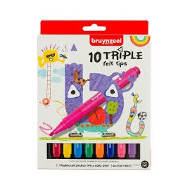 BRUYNZEEL TRIPLE FELT TIPS X 10