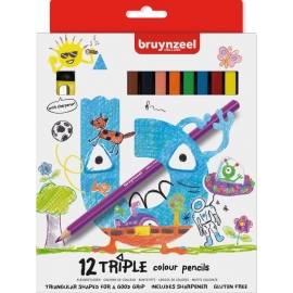 BRUYNZEEL TRIPLE COLOUR PENCILS X 12