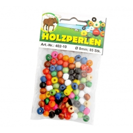 WOODEN BEADS ASSORTED COLOURS - 8MM - 85 PCS
