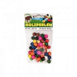 WOODEN BEADS ASSORTED - 10MM - 56PCS