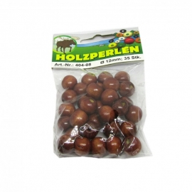 WOODEN BEADS BROWN - 12MM - 35PCS