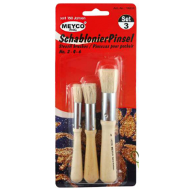 STENCIL PAINTBRUSH SET X 3 2/4/6 CHINA BRISTLE