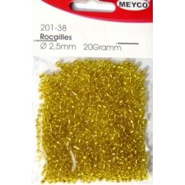MEYCO - GLASS BEADS - SUN YELLOW - 2.5MM, 20 GRAMS