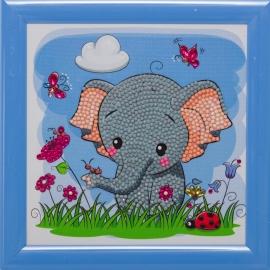 ELEPHANT 16 X 16CM FRAMEABLE DIAMOND PAINTING CARD