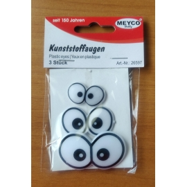 3D EYES - 3 PAIRS ASSORTED