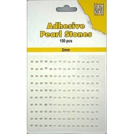 150 ADHESIVE PEARLS 2MM 3 COL.WHITE