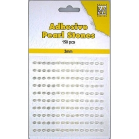 150 ADHESIVE PEARLS 3MM 3 COL.WHITE