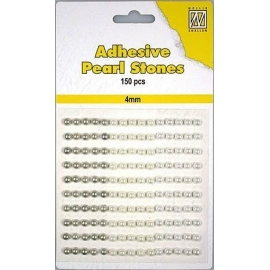 150 ADHESIVE PEARLS 4MM 3 COL.WHITE