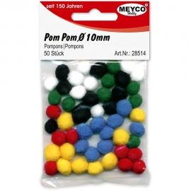 Pom Poms 10mm - Mixed Colours