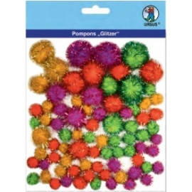 Glitter Pom Poms - Different Colours & Sizes