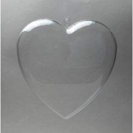 CLEAR PERSPEX HEART - 80MM