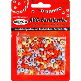 COLOURFUL ABC PLASTIC BEADS - 25GRM