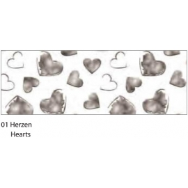 A4 DESIGNED CARDBOARD 200G - SILVER HEARTS